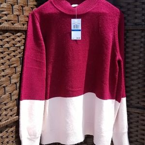 Michael Kors Women's two tone sweater burgundy